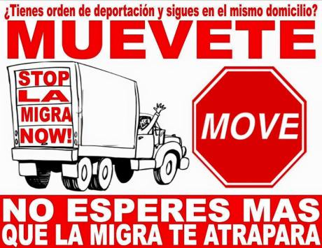 [Photo Caption: Move! Don't Wait for the Migra to Catch You! Source: AlertaMigratoriaNC] https://www.facebook.com/1105654329444645/photos/pb.1105654329444645.-2207520000.1463279870./1190148244328586/?type=3&theater