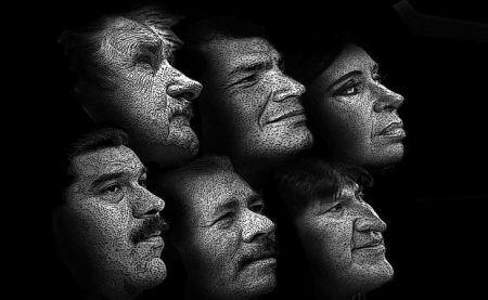 Presidentes de gobiernos progresistas en América Latina. Ilustración Página Siete..