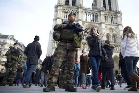 Solddo ptrullando fuera de la catedrál de Notre Dame en París. Diciembre 2015 AFP PHOTO / KENZO TRIBOUILLARD