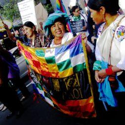 """""""Las mujeres runakuna que exigimos la despenalización del aborto – al menos por ahora, en casos de violación – queremos tener derecho y sí, también la responsabilidad de decidir sobre nuestra vida, sobre lo que queremos para nuestro presente y nuestro futuro"""". dijo Véronica Yuquilema en su artículo. En la marcha Blanca Chancoso, presidenta de Ecuarunari, con una bandera de la COAI se manifestó."""