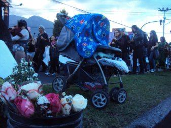 Flores para el Día de la Mujer: mientras las mujeres de las manifestaciones rechazan las flores como regalo, para la vendedora ambulante (no se ve en la foto) es lo que genera su ingreso diario. Trabaja mientras su bebé duerme al costado de la avenida.