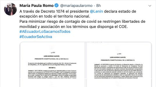 Captura de la cuenta de la cuenta twitter de la Ministra de Gobierno